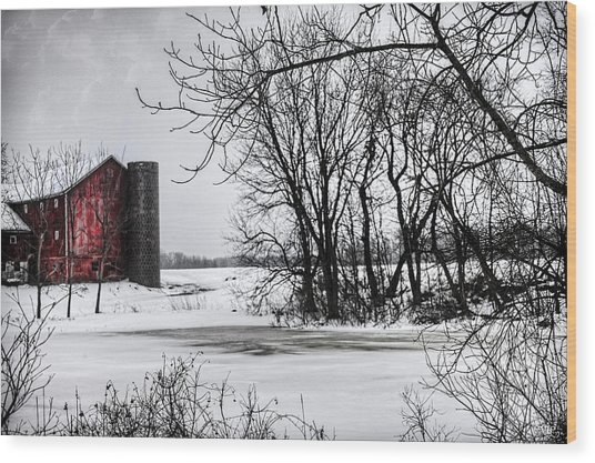 Alpine Barn Michigan Wood Print