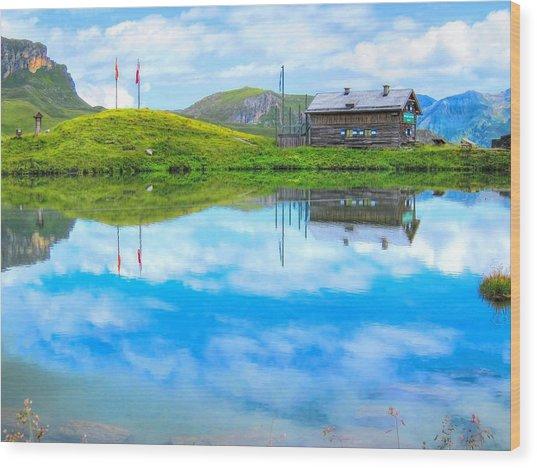 Alpine Blue Wood Print