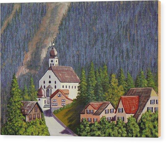 Alpine Church Wood Print