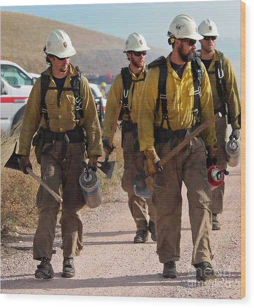 Alpine Hotshots Prepare To Ignite Cold Brook Prescribed Fire Wood Print