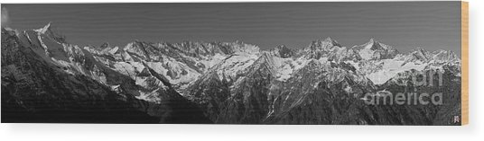 Alpine Peaks And Glaciers Wood Print by Marco Affini