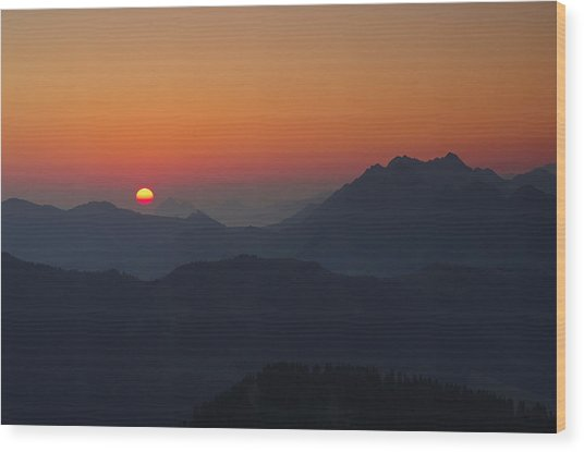 Alpine Sunrise Wood Print