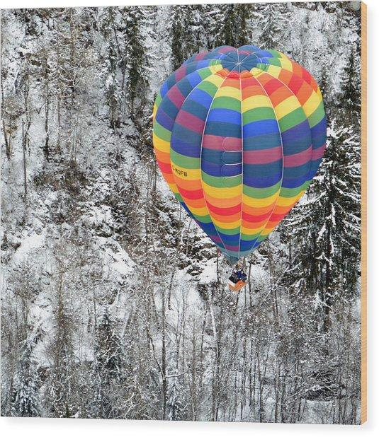 Alpine Tree Flight Wood Print by Stephen Richards