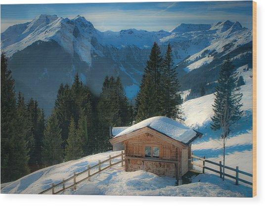 Alpine View Wood Print