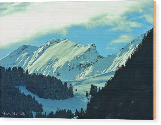 Alps Green Profile Wood Print