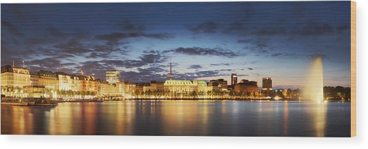 Alsterpanorama Hamburg Wood Print