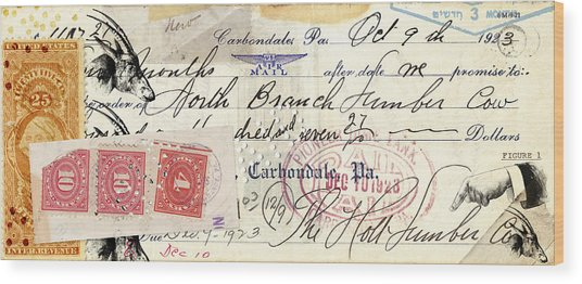 Altered Check 1923 Wood Print