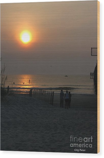 A.m. Beach Wood Print by Greg Patzer
