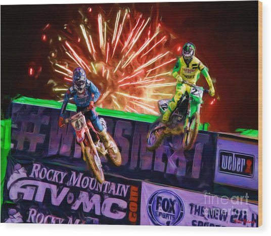 Ama 450sx Supercross Trey Canard Leads Chad Reed Wood Print