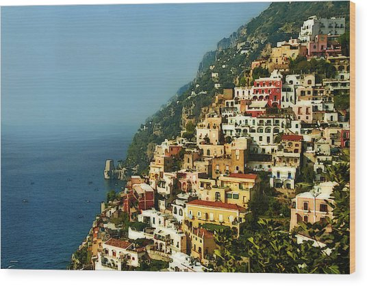 Amalfi Coast Hillside II Wood Print