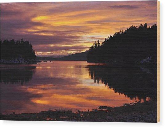 Amalga Harbor Sunset Wood Print