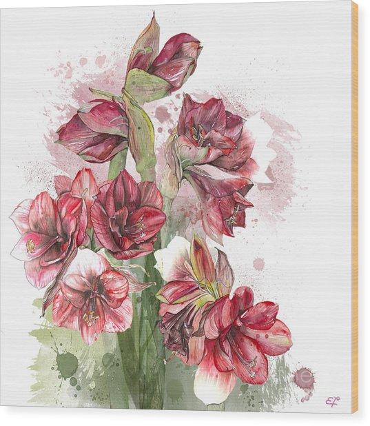 Amaryllis Flowers - 4. - Elena Yakubovich Wood Print