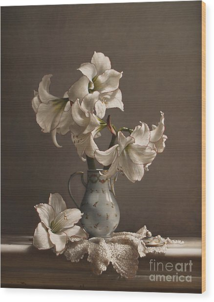 Amaryllis In A French Chocolate Pot Wood Print by Lawrence Preston
