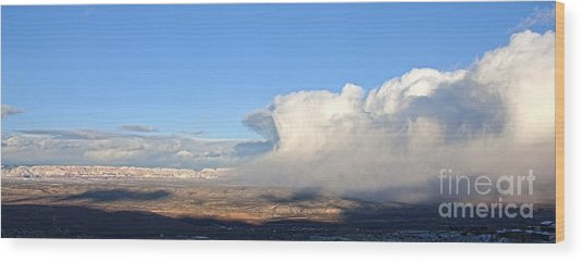 Amazing Cloud Swallows Red Rocks Of Sedona Arizona Wood Print