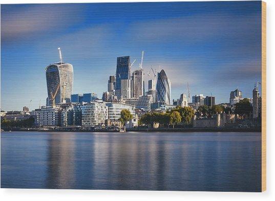Amazing London Skyline With Tower Bridge During Sunrise Wood Print by Easyturn