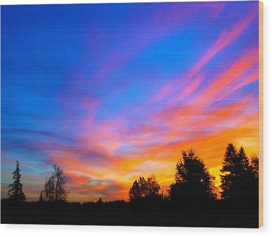 Amazing Sunset Wood Print by Lisa Rose Musselwhite