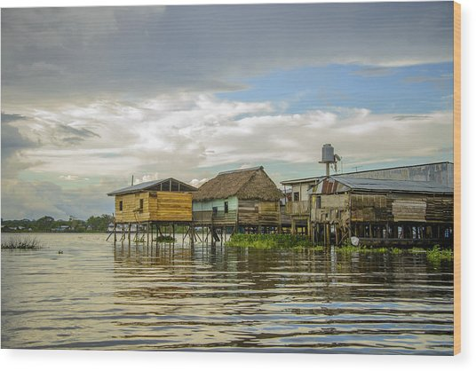 Amazon Beach House Wood Print