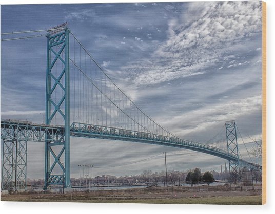 Ambassador Bridge From Detroit Mi To Windsor Canada Wood Print