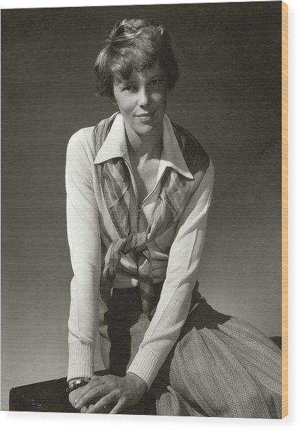 Amelia Earhart Wearing A Scarf Wood Print