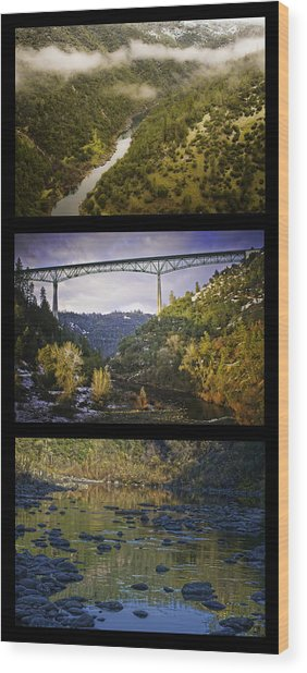 Wood Print featuring the photograph American River Triptych by Sherri Meyer