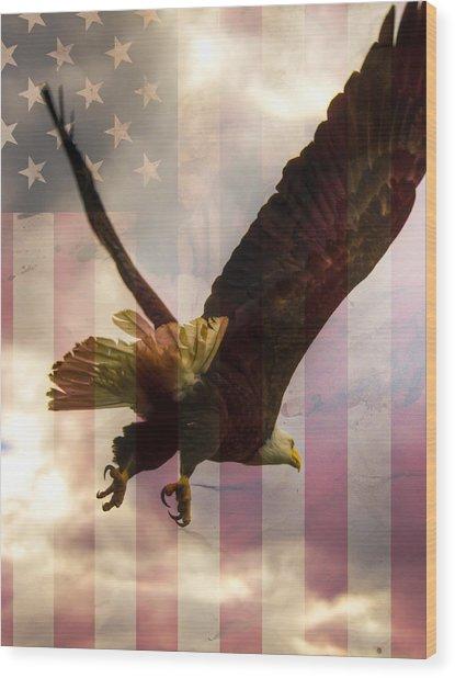 American Bald Eagle In Flight Wtih Flag Wood Print
