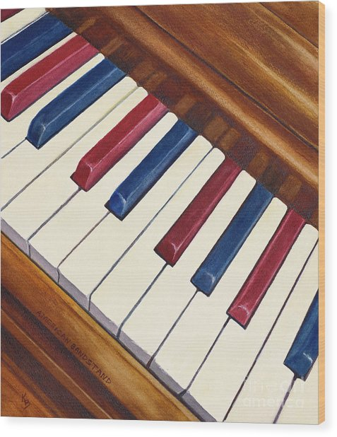 Wood Print featuring the painting American Bandstand by Karen Fleschler