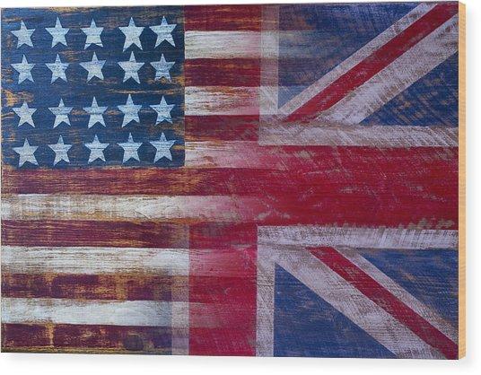American British Flag Wood Print