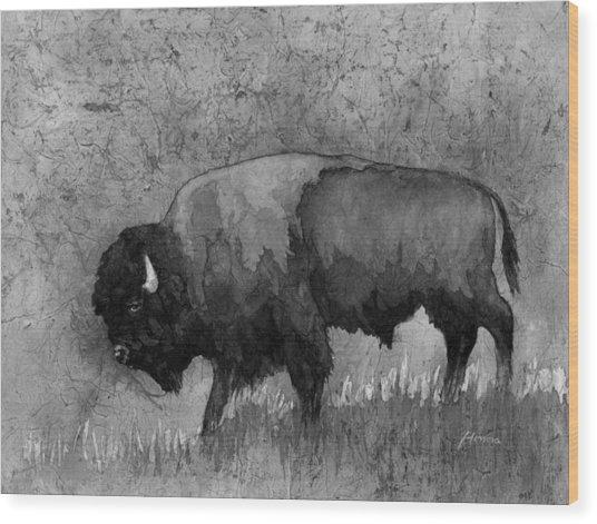 Monochrome American Buffalo 3  Wood Print