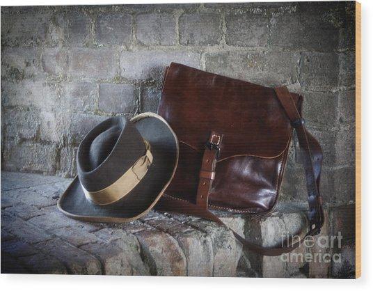 American Civil War Hat And Sack Wood Print