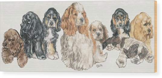 American Cocker Spaniel Puppies Wood Print