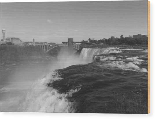 American Falls From Luna Island B N W Wood Print