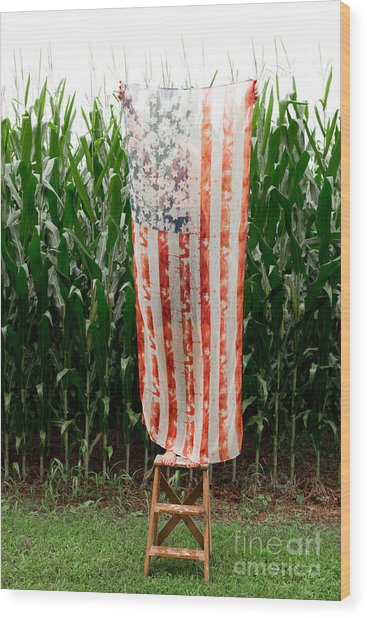 American Flag And A Field Of Corn Wood Print