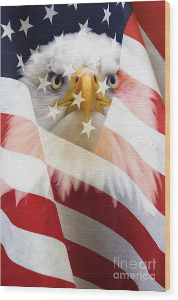 American Flag And Bald Eagle Montage Wood Print