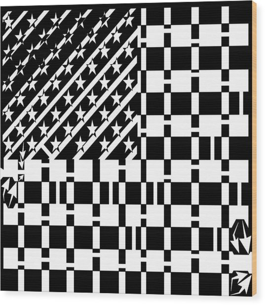 American Flag Maze  Wood Print by Yonatan Frimer Maze Artist