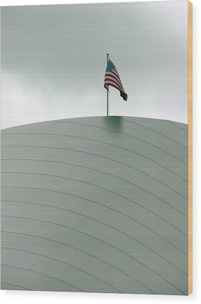 American Flag On Modern Museum In La Wood Print