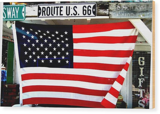 American Flag Route 66 Wood Print