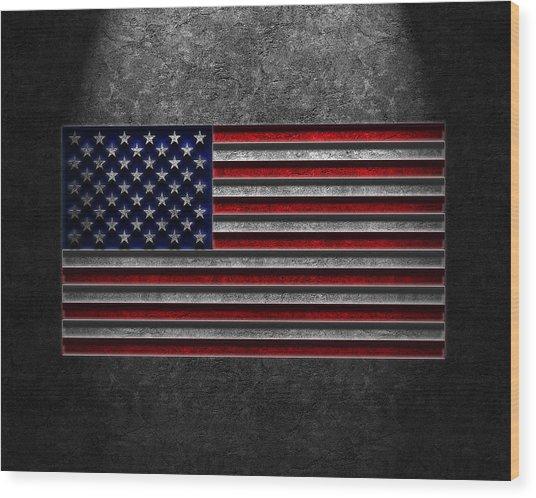 American Flag Stone Texture Wood Print