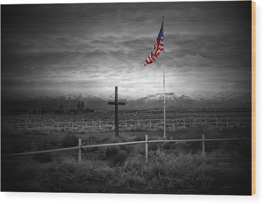 American Flag With Cross Wood Print