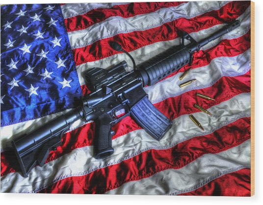 American Flag With Rifle Wood Print