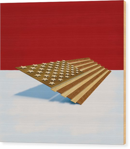 American Flag Wood Wood Print