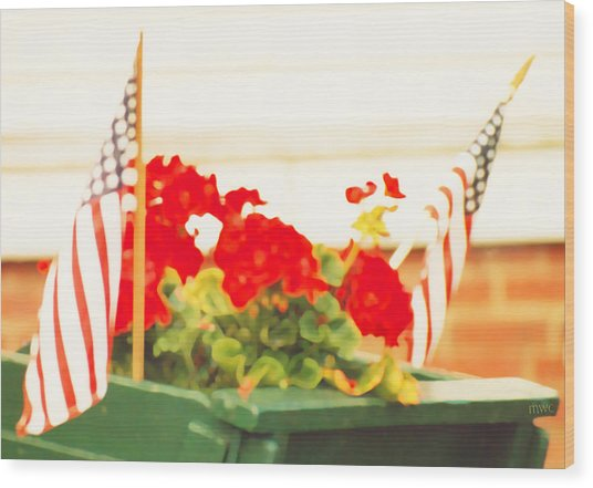American Flags And Geraniums In A Wheelbarrow In Maine, One Wood Print