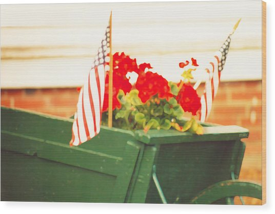 American Flags And Geraniums In A Wheelbarrow In Maine, Two Wood Print