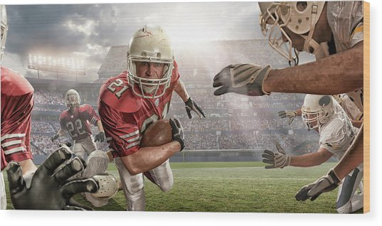 American Football Action Wood Print by Peepo