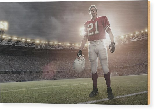 American Football Hero Wood Print by Peepo