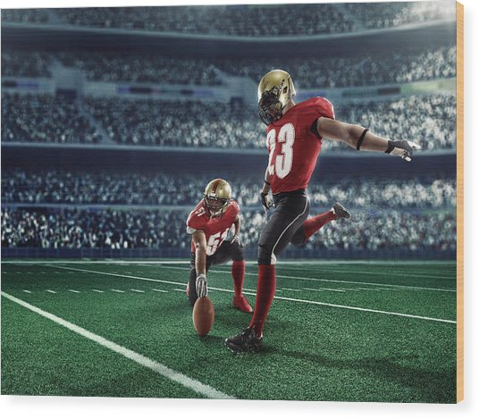 American Football Kick Off Wood Print by Dmytro Aksonov