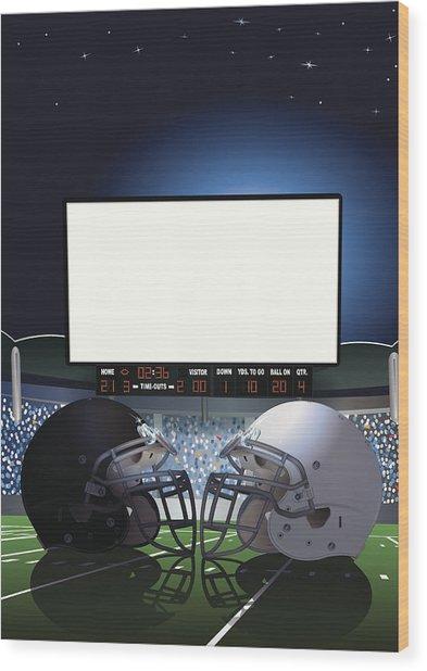 American Football Stadium Jumbotron Wood Print by Keithbishop