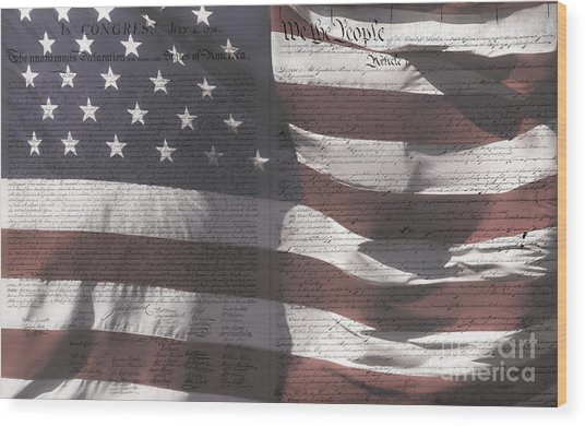 Historical Documents On Us Flag Wood Print