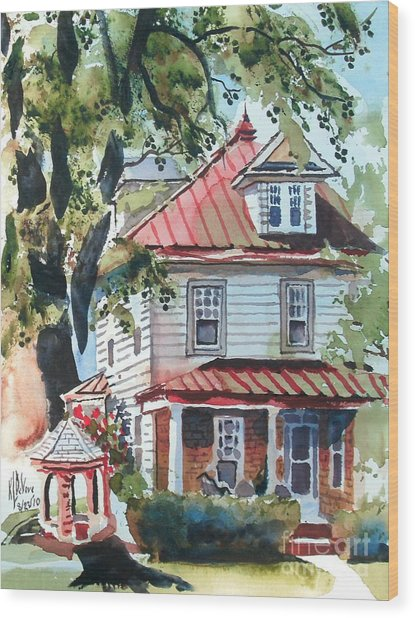 American Home With Children's Gazebo Wood Print