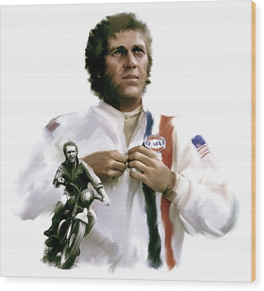 American Icon  Steve Mcqueen Wood Print