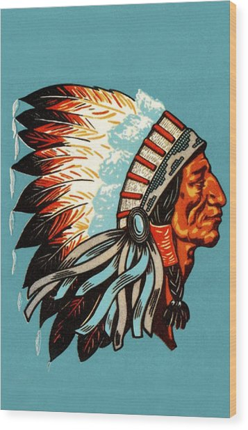 American Indian Chief Profile Wood Print